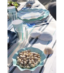 Piatti Fondi di Carta a Petalo Blu Caribe 24 cm 2 Confezioni