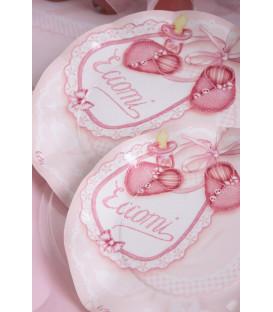 Piatti Piani di Carta a Petalo Eccomi Rosa 27 cm 2 confezioni