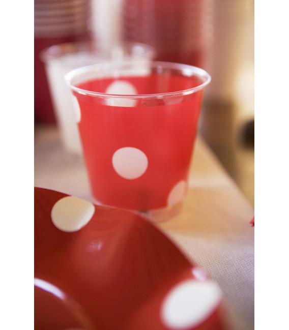 Piatti Piani di Carta a Petalo Pois Rosso 27 cm