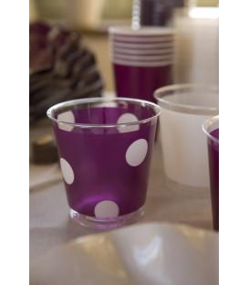 Bicchieri di Plastica Pois Prugna 300 cc 3 confezioni