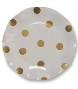 Piatti Piani di Carta a Petalo Pois Oro 21 cm 3 Confezioni