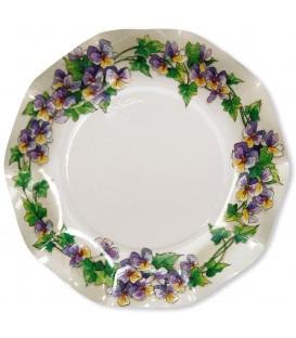 Piatti Piani di Carta a Petalo Violette 27 cm