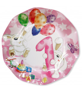 Piatti Piani di Carta Primo Compleanno Palloncini Rosa 27 cm