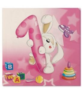 Tovaglioli 3 Veli Primo Compleanno Palloncini Rosa 33x33 cm