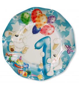 Piatti Piani di Carta Primo Compleanno Palloncini Celeste 27 cm 2 confezioni