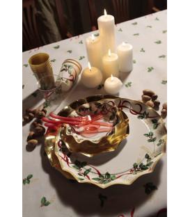 Piatti Piani di Carta a Petalo Natale Ribbon 24 cm
