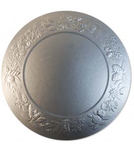 Sottopiatto Piano di Carta a Rilievo Ghirlanda Argento Satinato 34 cm 4 pz