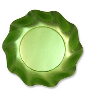 Piatti Fondi di Carta a Petalo Verde Satinato 18,5 cm