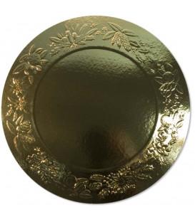 Sottopiatto Piano di Carta a Rilievo Ghirlanda Oro 34 cm 4 pz