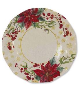 Piatti Piani di Carta a Petalo Natale Romantico 21 cm 3 Confezioni