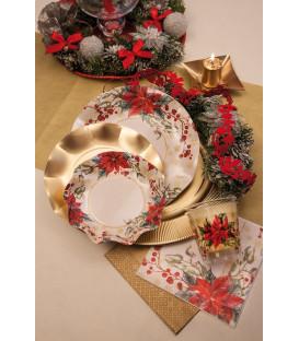 Piatti Piani di Carta a Petalo Natale Romantico 21 cm