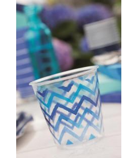 Bicchieri di Plastica Zig Zag Blu 300 cc