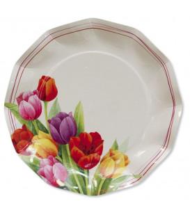 Piatti Piani di Carta a Petalo Tulipani Colorati 21 cm