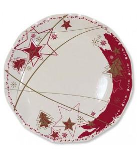 Piatti Piani di Carta a Petalo Stella Rossa 21 cm