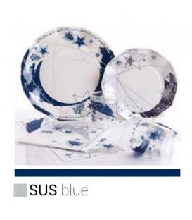 Piatti Piani di Carta a Petalo Stella Blu 27 cm