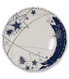 Piatti Piani di Carta a Petalo Stella Blu 21 cm