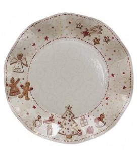 Piatti Piani di Carta a Petalo Gingerbread 21 cm
