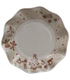 Piatti Fondi di Carta a Petalo Gingerbread 18,5 cm