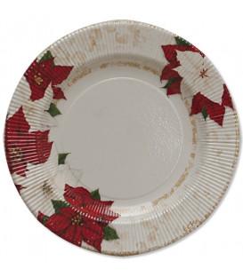 Piatti Piani di Carta a Righe Stella di Natale 21 cm 3 confezioni