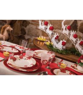 Piatti Piani di Carta a Righe Stella di Natale 21 cm