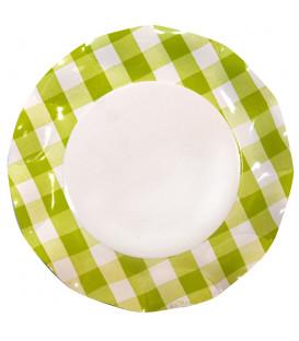 Piatti Piani di Carta Vichy a Quadri Bianco Verde Lime 27 cm