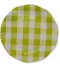 Piatti Piani di Carta Vichy a Quadri Bianco Verde Lime 21 cm