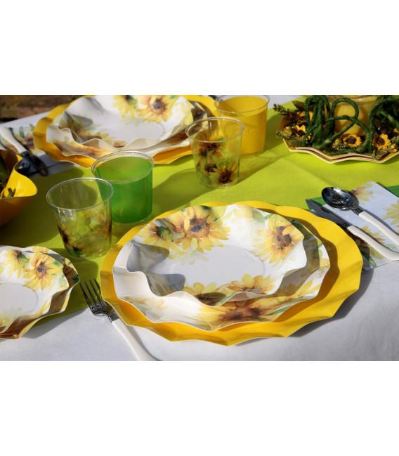 Piatti Piani di Carta a Petalo Sunflower 24 cm