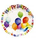 Piatti Piani di Carta a Petalo Happy Birthday 21 cm