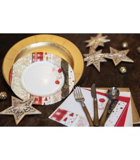 Piatti Piani di Carta a Righe Natale Patchwork 21 cm