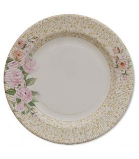 Piatti Piani di Carta a Righe Rose Flower 21 cm