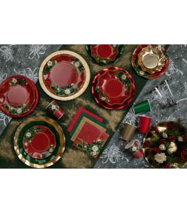 Piatti Piani di Carta a Petalo Elegance Christmas 24 cm