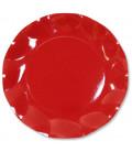 Piatti Piani di Carta a Petalo Rosso