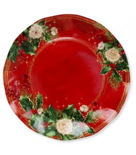 Piatti Piani di Carta a Petalo Elegance Christmas 21 cm