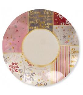 Piatti Piani di Carta a Petalo Rose Gold Christmas 24 cm