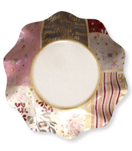 Piatti Fondi di Carta a Petalo Rose Gold Christmas 18,5 cm