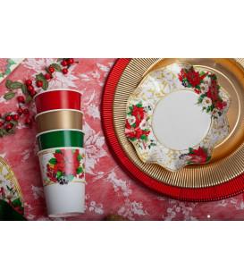 Piatti Piani di Carta a Petalo Lucky Christmas 24 cm