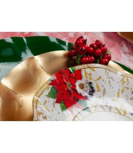 Piatti Fondi di Carta a Petalo Lucky Christmas 24 cm