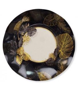 Piatti Piani di Carta a Petalo Black Tropical 21 cm
