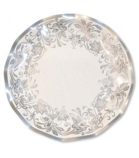 Piatti Piani di Carta a Petalo Noblesse Argento 24 cm