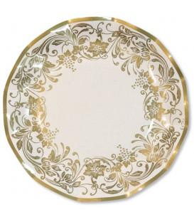 Piatti Piani di Carta a Petalo Noblesse Oro 21 cm