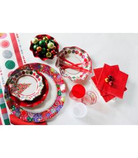 Piatti Fondi di Carta a Petalo Happy Christmas 18,5 cm
