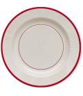 Piatti Piani di Carta a Righe Bordo Rosso Classic Red 21 cm