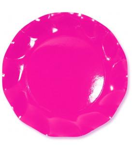 Piatti Piani di Carta a Petalo Rosa Pink 24 cm