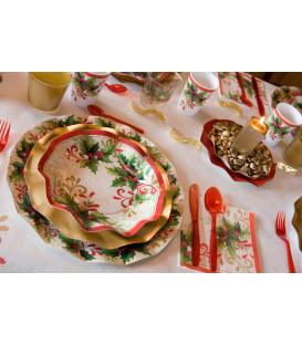 Piatti Piani di Carta a Petalo Tradition Agrifoglio 32,4 cm