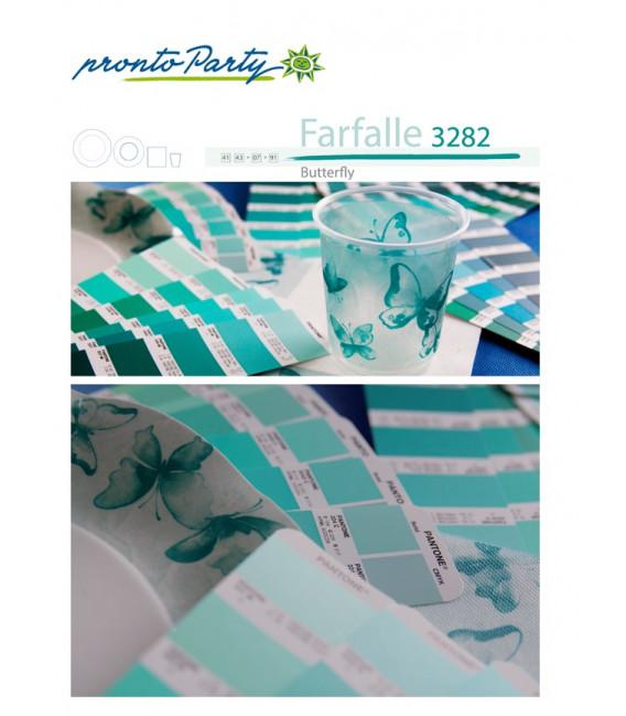 Piatti Piani di Carta a Petalo Farfalla Verde 21 cm