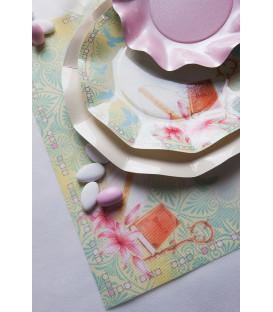 Piatti Piani di Carta a Petalo Cresima - Gigli 21 cm