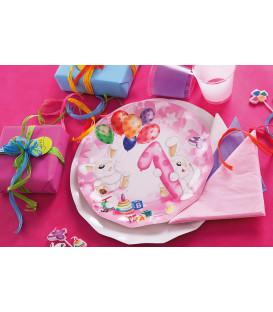 Piatti Piani di Carta Primo Compleanno Palloncini Rosa 21 cm