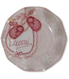 Piatti Piani di Carta a Petalo Eccomi Rosa 21 cm