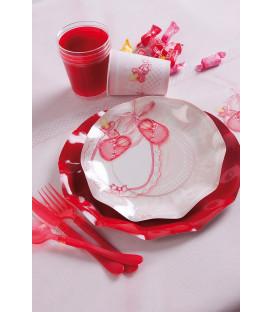 Piatti Piani di Carta a Petalo Baby Rosa 21 cm