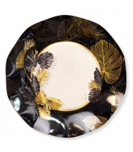 Piatti Piani di Carta a Petalo Black Tropical 24 cm